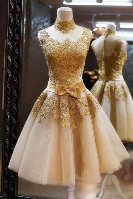 A-Line High Neck Knee-Length Champagne Short Homecoming Dress with Appliques,Short Homecoming Dresses 2017, Juniors Homecoming Dresses, Cheap Homecoming Dresses,Dresses For Homecoming